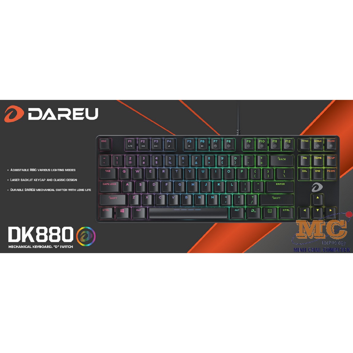 Bàn phím cơ Gaming DAREU DK880 87KEY (RGB, Blue/ Brown/ Red D switch)