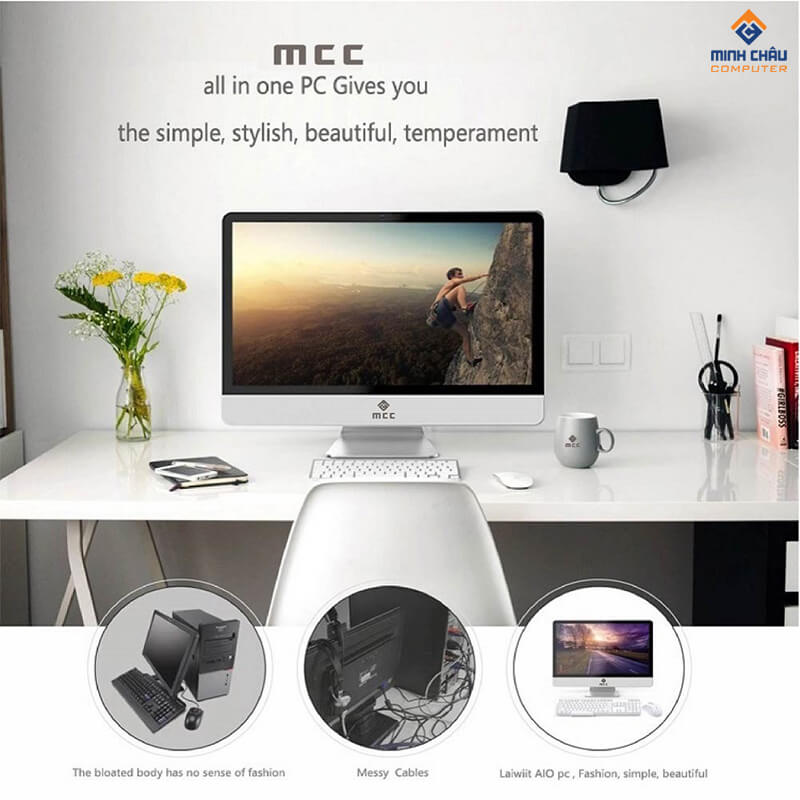 Bộ PC All in ONE (AIO) MCC8162 Home Office Computer CPU i3 8100/ Ram16G/ SSD240G/ wifi/ Camera/ 22inch giá tốt nhất