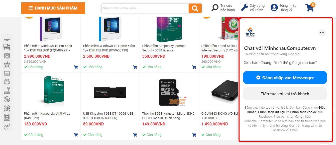 Hướng dẫn mua hàng online tại MCC