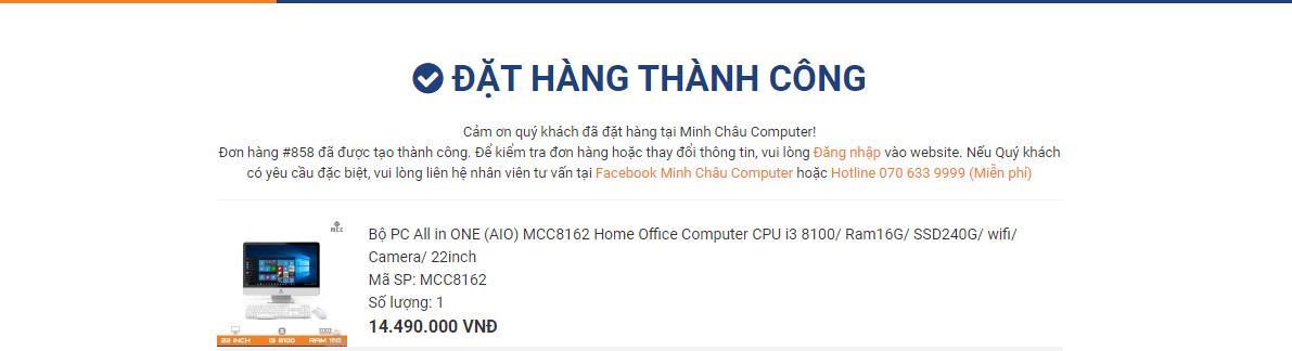 Đặt hàng thành công tại MCC